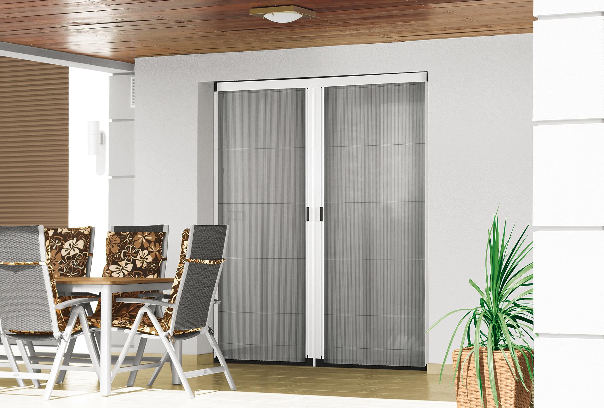 insektenschutz plissee f r balkon und terrasse m s bauelemente. Black Bedroom Furniture Sets. Home Design Ideas