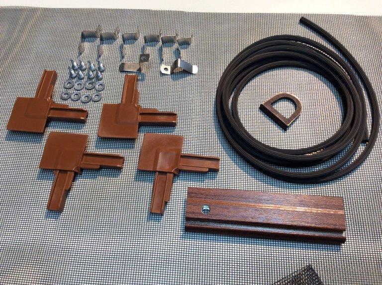 deluxe insektenschutz spannrahmen f r fenster nuss bausatz gewebe in schwarz aluminium. Black Bedroom Furniture Sets. Home Design Ideas