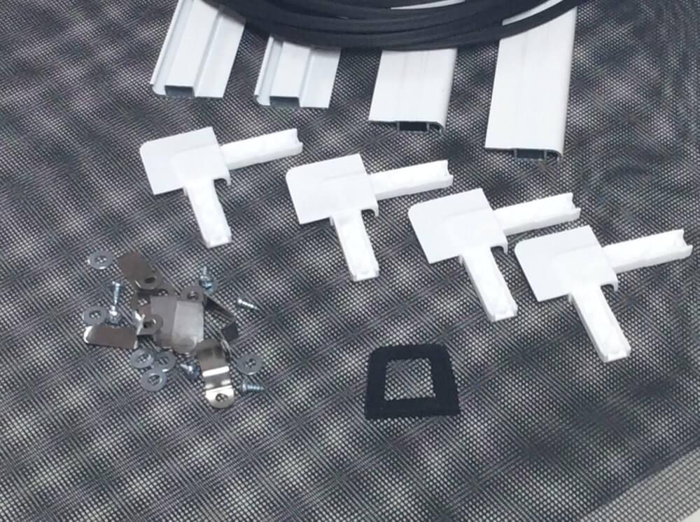 eco line insektenschutz spannrahmen f r fenster weiss als bausatz gewebe in schwarz. Black Bedroom Furniture Sets. Home Design Ideas